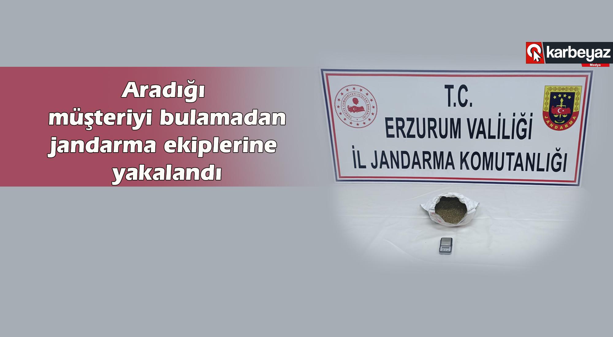Erzurum Jandarma ekipleri uyuşturucu tacirini yakaladı
