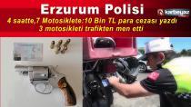 Erzurum Emniyet Müdürlüğü motosikletleri denetledi